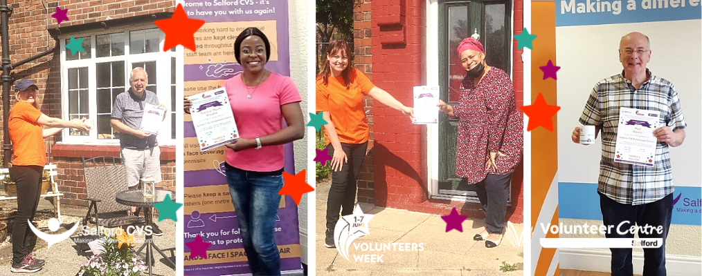 Volunteers with their gifts in our office and outside their homes.