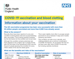 Vaccination and blood clot risk